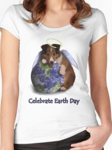 Celebrate Earth Day Angel Sheltie Puppy Women's Fitted Scoop T-Shirt