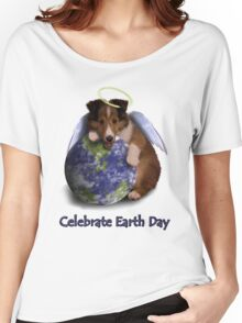 Celebrate Earth Day Angel Sheltie Puppy Women's Relaxed Fit T-Shirt