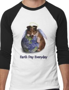 Earth Day Everyday Angel Sheltie Puppy Men's Baseball ¾ T-Shirt
