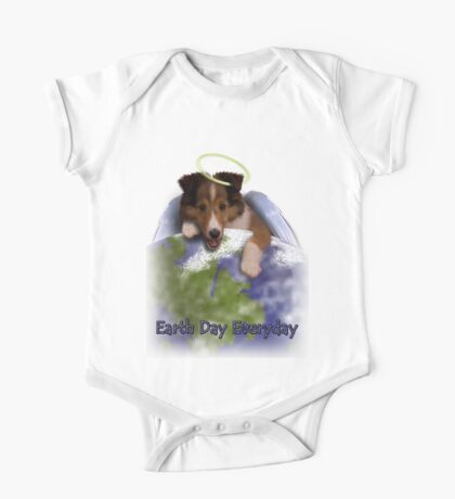 Earth Day Everyday Angel Sheltie Puppy One Piece - Short Sleeve