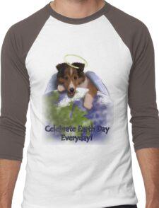 Celebrate Earth Day Everyday Angel Sheltie Men's Baseball ¾ T-Shirt
