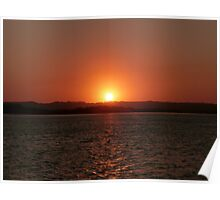 Red Water Sunset Poster