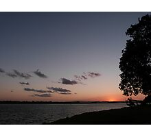 River Sunset with a Tree Photographic Print