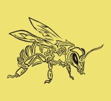 """Bee Spirit"" - Surreal abstract tribal bee totem animal Kids Clothes"