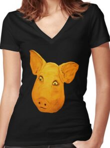 Pigs Head.......... Women's Fitted V-Neck T-Shirt