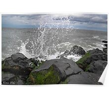 Water Splash On Rocks Poster