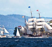Tall Ships, Hobart, Tasmania, Lady Franklin follows Europa up the Derwent to Hobart by Odille Esmonde-Morgan