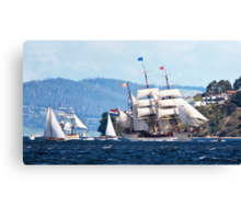 Tall Ships, Hobart, Tasmania, Lady Franklin follows Europa up the Derwent to Hobart Canvas Print