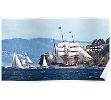 Tall Ships, Hobart, Tasmania, Lady Franklin follows Europa up the Derwent to Hobart Poster