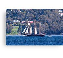 Tall Ships, Hobart, Tasmania - Oosterchelde on her way down the Derwent Canvas Print