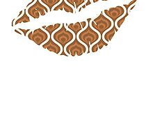 Brown Retro Waves Lips by kwg2200