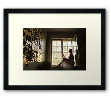In the abandoned asylum. Sunset. Framed Print