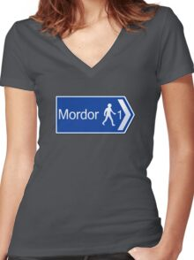 Footpath to Mordor Women's Fitted V-Neck T-Shirt
