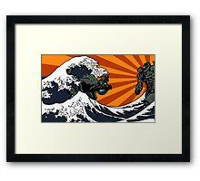 Kaiju Vs Jaeger (Japanese Wave) Framed Print