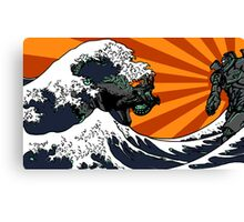 Kaiju Vs Jaeger (Japanese Wave) Canvas Print