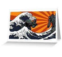 Kaiju Vs Jaeger (Japanese Wave) Greeting Card