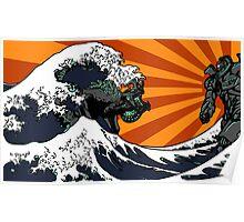 Kaiju Vs Jaeger (Japanese Wave) Poster