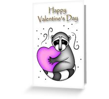 Happy Valentine's Day Raccoon Greeting Card