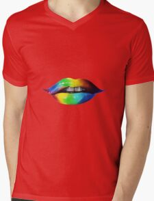 Rainbow lips T-Shirts & Hoodies Mens V-Neck T-Shirt