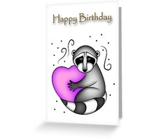 Happy Birthday Raccoon Greeting Card