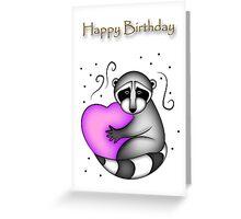 Happy Birthday Raccoon Greeting Card