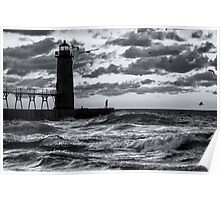 Danger at the Lighthouse - Manistee Michigan Sunset Poster