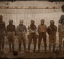 Soldiers Play Soccer in Gas Masks by diane  addis