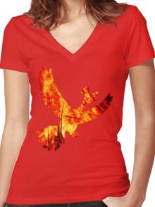 Ho Oh - Pokemon Realism Women's Fitted V-Neck T-Shirt