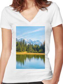 Alpine lake  Women's Fitted V-Neck T-Shirt