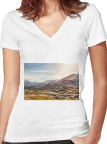 Mountain road Women's Fitted V-Neck T-Shirt