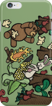Teddy Bear And Bunny - Popcorn by Brett Gilbert