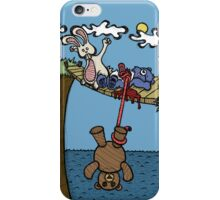 Teddy Bear And Bunny - Bungee Jump iPhone Case/Skin
