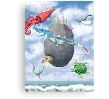 Floating Castle and Flying Fish Canvas Print