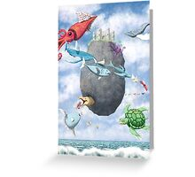 Floating Castle and Flying Fish Greeting Card