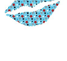 Red White And Blue Stars Lips by kwg2200