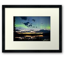 Midnight summer Northern lights Aurora borealis Framed Print