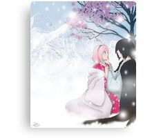 Snow and Sakura - SasuSaku  Canvas Print