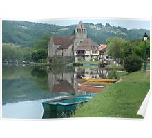 Boats on the river at Beaulieu-sur-Dordogne, France Poster