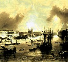 A digital painting of the Port of London 1842 by Dennis Melling