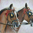 Horses in Harness and Tack by Tahnja