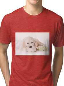 Fluffy Puppy golden retriever Tri-blend T-Shirt