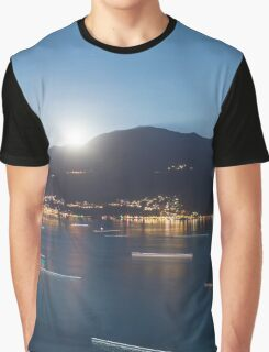 Alpine lake with light trails Graphic T-Shirt