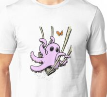 Octopus Swinging with Butterfly Unisex T-Shirt