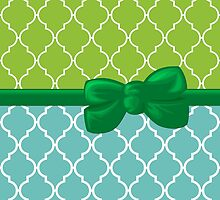 Ribbon and Bow, Moroccan Trellis Blue White Green by sitnica