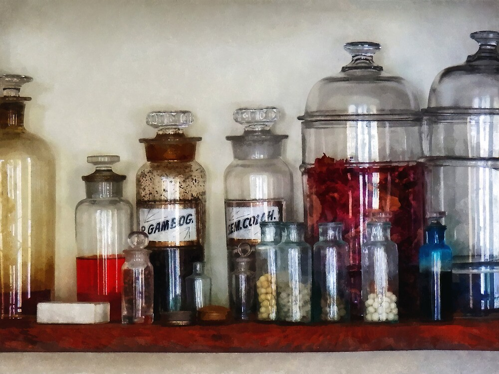 Vintage Medicine Bottles by Susan Savad