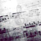 Music! Treble clef with Grunge Vintage Texture - DJ Retro Music Art Prints - iPhone and iPad Cases by Denis Marsili - DDTK