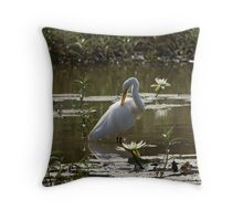 Great White Egret in Lily Pond Throw Pillow