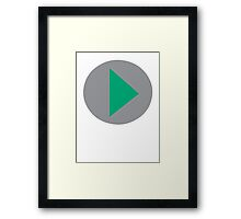 Press to Play Button Video Framed Print