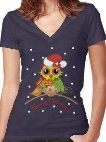 Cute Christmas Owl on branch, Snow & Text Tee Women's Fitted V-Neck T-Shirt