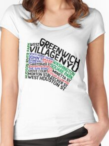 Typographic Greenwich Village Map, NYC Women's Fitted Scoop T-Shirt